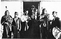 0017904 © Granger - Historical Picture ArchiveFORT LARAMIE TREATY.   The signers of the Treaty of Fort Laramie, May 1868. Man-Afraid-of-His-Horses is second from right. Red Cloud is not pictured as he signed the treaty in November, 1868.