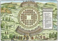 0007727 © Granger - Historical Picture ArchiveIROQUOIS VILLAGE, 1556.   The first printed plan of a North American settlement, showing the fortified Iroquois Native American village of Hochelaga, near Monte Real (present-day Montreal). Color woodcut from Giovanni Battista Ramusio's 'Delle Navigazioni e Viaggi,' 1556.