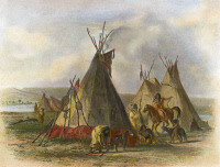 0009040 © Granger - Historical Picture ArchiveNATIVE AMERICAN LODGES.   Skin lodges of an Assiniboin chief near Fort Union on the Missouri River. Engraving ,1844 after Karl Bodmer.