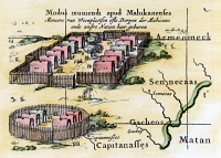 0009078 © Granger - Historical Picture ArchiveNATIVE AMERICANS: VILLAGE, 1650s.   A Minisink village, the typical village surrounding the Iroquois. Detail from Nicolas Visscher's map of New Netherland, 1651-55.