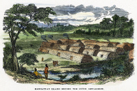 0011365 © Granger - Historical Picture ArchiveMANHATTAN ISLAND, 19TH CENTURY.  Native American longhouses on Manhattan Island before the Dutch settlement of New Amsterdam (New York City). Colored wood engraving, 19th century.