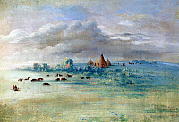0028939 © Granger - Historical Picture ArchiveGEORGE CATLIN: SIOUX VILLAGE.   A Sioux village at Lake Calhoun, Minnesota, near Fort Snelling. Oil on canvas, 1835-36, by George Catlin.