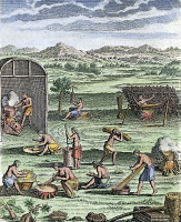 0065478 © Granger - Historical Picture ArchiveIROQUOIS VILLAGE, 1664.   Village life among the Iroquois Native Americans. Line engraving, French, 1664.