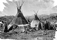 0125064 © Granger - Historical Picture ArchiveSHOSHONE VILLAGE, 1870.   Shoshone Native American village near the Sweetwater River at Fort Stambaugh, Wyoming. Photographed by William Henry Jackson, 1870.