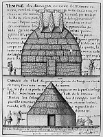 0163317 © Granger - Historical Picture ArchiveACOLAPISSA TEMPLE & CABIN.   Temple (top) and chief's cabin of the Acolapissa Native Americans in Louisiana. Line engraving and watercolor, 1732, by Alexandre de Batz.