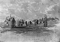 0173217 © Granger - Historical Picture ArchiveVERNER: MICMAC HUTS.   Huts of Micmac Native Americans of eastern Canada. Graphite and watercolor on paper, 1876, by Frederick Arthur Verner.