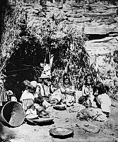 0174273 © Granger - Historical Picture ArchivePAIUTE CAMP, c1873.   The Paiute chief Chuarumpeak (center) and his family seated outside a wickiup on the Kaibab Plateau, near the Grand Canyon in northern Arizona. Photographed by John K. Hillers, c1873.