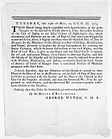0113582 © Granger - Historical Picture ArchiveWYTHE: BROADSIDE, 1774.   Broadside issued by George Wythe of the House of Burgesses, calling for a day of fasting and prayer after the British invasion of Boston, May 1774.