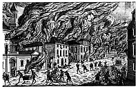 0260874 © Granger - Historical Picture ArchiveOCCUPIED NEW YORK, 1776.   The burning of New York City on the night of 19 September 1776, following the occupation of the city by British troops. Contemporary French line engraving.