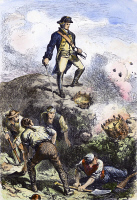 0097555 © Granger - Historical Picture ArchiveBATTLE OF BUNKER HILL, 1775.   Colonel William Prescott in the redoubt on Breed's Hill during the Battle of Bunker Hill, 17 June 1775. Line engraving, 19th century.