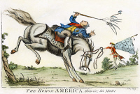 0007125 © Granger - Historical Picture ArchiveCARTOON: REVOLUTIONARY WAR, 1779. 'The horse America throwing his master.' An English satirical cartoon predicting the outcome of the American Revolutionary War. Cartoon, 1779.