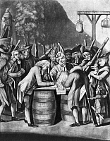 0126722 © Granger - Historical Picture ArchiveVIRGINIA LOYALISTS, 1774.   Loyalists are forced to sign the resolutions drawn up by the Williamsburg convention, August 1774. Sons of Liberty armed with clubs are watching them. Contemporary English mezzotint cartoon.