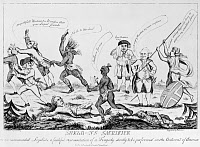 0126753 © Granger - Historical Picture ArchiveLOYALISTS: CARTOON, 1783.   'Shelb-ns Sacrifice.' Contemporary English cartoon speculating on the consequences of the Paris Peace Treaty on Loyalists in America. British Prime Minister Earl Shelburne seems pleased that Loyalists are being massacred by Native Americans, but he himself is attacked by Britannia.