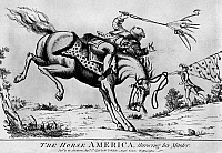 0131431 © Granger - Historical Picture ArchiveREVOLUTIONARY WAR: CARTOON.   'The Horse America Throwing his Master.' English cartoon, 1779, predicting the outcome of the American Revolutionary War.