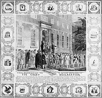0000586 © Granger - Historical Picture ArchiveTHE REBELS OF '76.   'The First Announcement of the Great Declaration' (of Independence). John Nixon making the first public reading of the Declaration of Independence in the States House Yard, Philadelphia, Pennsylvania, on 8 July 1776. Wood engraving, American, 1860.