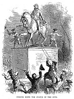 0001144 © Granger - Historical Picture ArchiveGEORGE III STATUE, 1776.   The Sons of Liberty pulling down the statue of King George III at the Bowling Green, New York, on the night of 9 July 1776. Wood engraving after Felix O.C. Darley, 1877.