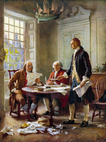 0076594 © Granger - Historical Picture ArchiveDECLARATION COMMITTEE.   'The Declaration Committee.' Benjamin Franklin, John Adams, and Thomas Jefferson meeting at Jefferson's lodgings on the corner of Seventh and (High) Market Streets in Philadelphia to review a draft of the Declaration of Independence in 1776. After a painting by Jean Léon Gerome Ferris.