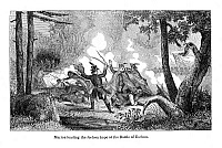0038364 © Granger - Historical Picture ArchiveFRANCIS MARION (1732?-1795).   American Revolutionary soldier. Lieutenant Francis Marion leads an advance guard of South Carolina militia against Cherokee positions near the village of Etchoee during the French and Indian War, June 1761. Wood engraving, 1844.