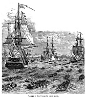 0005830 © Granger - Historical Picture ArchiveBATTLE OF LONG ISLAND.   The passage of British troops from Staten Island to Gravesend Bay, 22 August 1776. Wood engraving, 19th century.