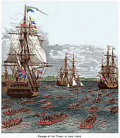 0065801 © Granger - Historical Picture ArchiveBATTLE OF LONG ISLAND 1776.   The passage of British troops from Staten Island to Gravesend Bay, 22 August 1776. Wood engraving, 19th century, digitally colored by Granger, NYC -- All Rights Reserved.