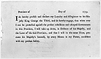 0131426 © Granger - Historical Picture ArchiveLOYALIST OATH, 1779.   Form used during the American Revolution by British officials to sign up Americans loyal to King George III of England.