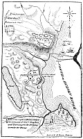 0075521 © Granger - Historical Picture ArchiveREVOLUTIONARY WAR PLAN.   Plan of the British attack on Forts Clinton and Montgomery on the Hudson River during the American Revolutionary War, October 1777.