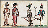 0016499 © Granger - Historical Picture ArchiveREVOLUTIONARY WAR SOLDIER.   A black light infantryman from the 1st Rhode Island Regiment, a musketman, a rifleman, and an artilleryman, all of the Continental Army during the American Revolutionary War. Watercolor, c1781, by Jean Baptiste Antoine de Verger, an officer serving with the French army in America.