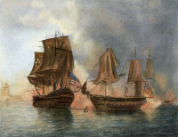 0008033 © Granger - Historical Picture ArchiveBONHOMME RICHARD, 1779.   The engagement between USS Bonhomme Richard and HMS Serapis off Flamborough Head, 23 September 1779. After a painting, 1789, by William Elliott.