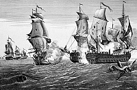 0129901 © Granger - Historical Picture ArchiveBONHOMME RICHARD, 1779.   The engagement between USS Bonhomme Richard, commanded by John Paul Jones, and HMS Serapis off Flamborough Head, Yorkshire, England, 23 September 1779. Contemporary French line engraving.