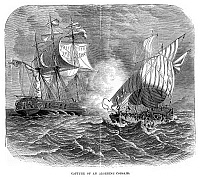 0268662 © Granger - Historical Picture ArchiveALGERIAN CORSAIR.   Capture of an Algerian corsair by an American warship in the years following the American Revolution. Engraving, American, 19th century.