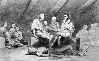 0131409 © Granger - Historical Picture ArchiveBRITISH PRISON SHIP, 1770s.   Starving American prisoners onboard the prison ship 'Jersey,' anchored in New York Harbor during the Revolutionary War. Drawing by John Trumbull (1756-1843).