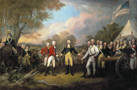 0007052 © Granger - Historical Picture ArchiveSARATOGA: SURRENDER, 1777.   Surrender of British General John Burgoyne at Saratoga, New York, 17 October 1777. Oil on canvas by John Trumbull.