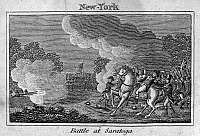 0075464 © Granger - Historical Picture ArchiveBATTLE OF FREEMAN'S FARM.   Saratoga, New York, 1777. American engraving, c1830.