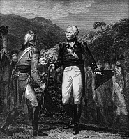 0265707 © Granger - Historical Picture ArchiveSARATOGA: SURRENDER, 1777.   The surrender of British General John Burgoyne (left) to General Horatio Gates of the Continental Army, at Saratoga, New York, 17 October 1777. Line engraving, English, 1807, by T. Wallis after William Marshall Craig.