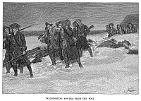 0067626 © Granger - Historical Picture ArchiveGUNPOWDER SEIZURE, 1774.   Members of Major John Sullivan's raiding party transport kegs of gunpowder, which they have seized from Fort William and Mary at Portsmouth, over snowy New Hampshire terrain, December 1774: wood engraving, 1886, after Howard Pyle.