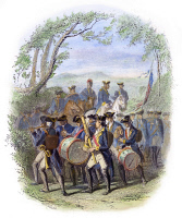 0078583 © Granger - Historical Picture ArchiveCONTINENTAL ARMY BAND.   Marching band in the Continental Army during the American Revolutionary War. Colored engraving, c1850, by Karl Hermann Schmolze.