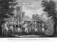 0005447 © Granger - Historical Picture ArchiveYORKTOWN: SURRENDER, 1781.   The British General Charles Cornwallis surrenders to American General George Washington at Yorktown, Virginia, ending fighting during the American Revolution, 19 October 1781. Line engraving, American, 1819, after a drawing by John Francis Renault.
