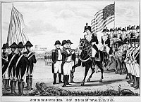0005691 © Granger - Historical Picture ArchiveYORKTOWN: SURRENDER, 1781.  British General Charles Cornwallis surrendering to General George Washington at Yorktown, Virginia, ending fighting during the American Revolution. Lithograph, 1846, by Nathaniel Currier.