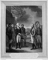 0014761 © Granger - Historical Picture ArchiveYORKTOWN: SURRENDER, 1781.   British General Charles Cornwallis surrendering to American General George Washington at Yorktown, Virginia, which ended the fighting in the American Revolution, 19 October 1781. Line engraving, mid-19th century.