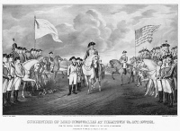 0130412 © Granger - Historical Picture ArchiveYORKTOWN: SURRENDER, 1781.   The British surrender at Yorktown, Virginia, on 19 October 1781. Lithograph, 1852, by Nathaniel Currier after John Trumbull.