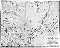 0176189 © Granger - Historical Picture ArchiveSIEGE OF YORKTOWN, 1781.   French map of the coast of Virginia, showing the army of General Cornwallis on the York River with the American and French armies laying siege around it, during the American Revolution, 1781.