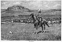 0003188 © Granger - Historical Picture ArchiveREMINGTON: COWBOY, 1888.   'The Round-Up.' Wood engraving, 1888, after a drawing by Frederic Remington (1861-1908).