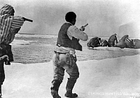 0121530 © Granger - Historical Picture ArchiveALASKA: WALRUS HUNTING.   Two Eskimo men with guns raised, hunting walrus. Photographed by Dobbs, early 20th century.