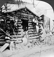 0121930 © Granger - Historical Picture ArchiveWORLD'S FAIR: ESKIMOS.   An exhibit showing an Eskimo hunter's cabin with his family in the doorway, World's Fair, St. Louis, Missouri, U.S.A. Stereograph, c1904.