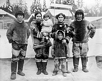 0122193 © Granger - Historical Picture ArchiveSEATTLE: ESKIMO FAMILY.   An Eskimo family from Labrador, Canada, at the Alaska-Yukon-Pacific Exposition (A.Y.P.E.) in Seattle, Washington. Photograph, October 1909.
