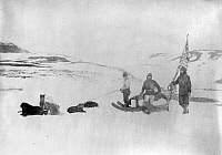 0122194 © Granger - Historical Picture ArchiveCANADA: EXPEDITION.  Members of the Lady Franklin Bay Expedition, Lieutenant Lockwood and Sergeant Brainard, accompanied by an Eskimo, leaving Fort Conger, Canada. Photograph, c1881-1884.