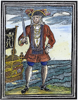 0010636 © Granger - Historical Picture ArchivePIRATE, 1725.   The pirate Bartholomew Roberts. Colored English woodcut, 1725.
