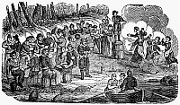 0046791 © Granger - Historical Picture ArchivePIRATES, 1718.   The crews from pirate ships belonging to Edward Teach (Blackbeard) and Charles Vane revelling on Ocracoke Island, North Carolina, in 1718. Wood engraving, c1840.