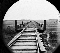 0163356 © Granger - Historical Picture ArchiveVIRGINIA: HIGH BRIDGE.   High Bridge of the South Side Railroad across the Appomattox, Farmville, Virginia. Photograph by Timothy O'Sullivan, April 1865.