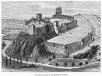 0092971 © Granger - Historical Picture ArchiveNOTTINGHAM CASTLE.   View of Nottingham Castle in Nottingham, England, as it appeared in the 16th century. Wood engraving, 19th century.